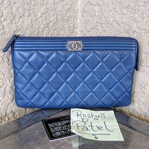 CHANEL Blue Lambskin Boy OCase Clutch Wallet